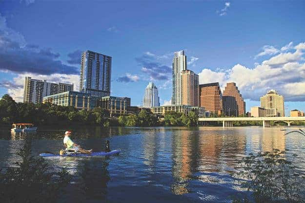 Austin Skyline with kayaker dog aus