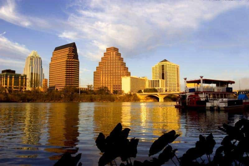 View from Lady Bird Lake toward Downtown Austin Courtesy of The Austin Convention & Visitors Bureau