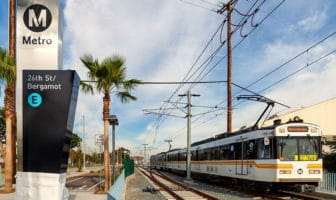 Metro Expo Line test train at the 26th/Bergamot station