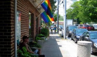 Rainbow flags on Baltimore Street
