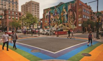 A rainbow-painted intersection in Philadelphia's Gayborhood.