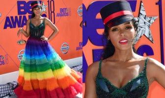 Janelle Monáe in a rainbow dress
